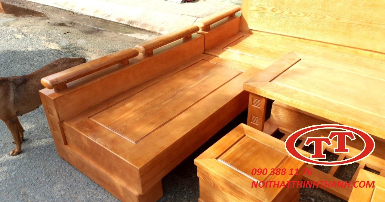 Sofa Góc Gỗ Gõ Đỏ 5 Món - SFG007