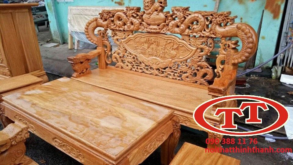 Salon Gõ Đỏ Tay Khuỷnh 12 Đỉnh Nghê Rồng - SLTC011